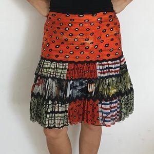 Gaultier flared African-inspired print skirt